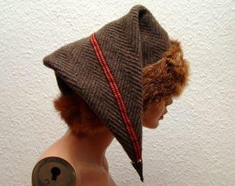 Cap, Medieval, Viking, Rus, Brettchenborte, fur Fuchs Genuine, Gr. 58, Wool burr, linen, Birka