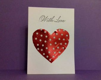 Handmade With Love Heart Greeting Card - Valentines Day Valentine's Cards Lovehearts Girlfriend Wife Fiance Sister Mum Boyfriend Husband XO