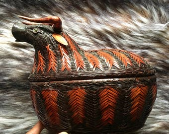 Vintage Bull/Water buffalo woven basket