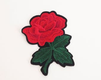 Rose iron on patch Red rose flower patch