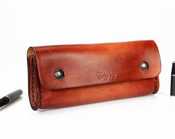 Natural leather pouch