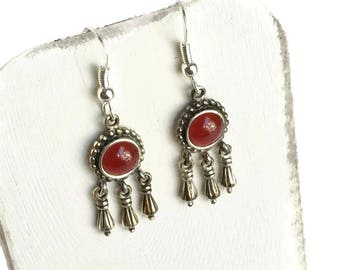 Dangle Earrings Sterling Silver with Round Carnelian Cabochon