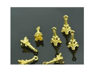 Set of 5 charm gold plated eiffel tower minimalist monument Paris travel (S39)