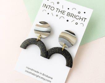 Sunrise Stud Drops ||| Sparkly Black, Beige, White, Polymer Clay Dangle Earrings, Marbled, Glitter, Minimal, Geometric, Gift for Her, Modern