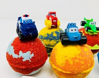 Sale. 3 or 4 7.0 oz Party Cars Inspired Bath Bomb Party Favor Set with Surprise Toy Car Inside.