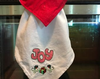 Christmas Kitchen Towel, Embroidered kitchen towel, Joy Christmas towel, Hanging kitchen towel, Christmas kitchen decor, Handmade, Joy Towel