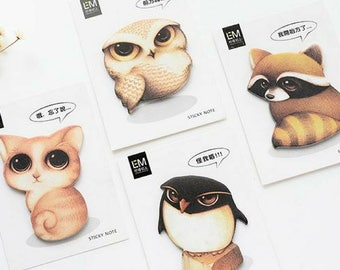 Big Eyes Cute Animals Sticky Notes ~ Memo Pads, Journal Notes, Planner Notes, Decorative, Stationery, Cartoon Animals Post It Tag Gift Ideas