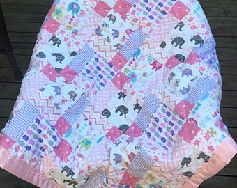 Baby Quilt Handmade, Elephant Quilt, Pink baby quilt, Baby Girl Quilt, Patchwork Quilt, Crib Quilt Handmade