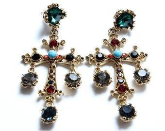 Cross Jewel Earrings