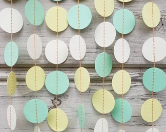 Mint Green and Yellow paper garland, Yellow wedding, Paper garland, Green baby shower, Wedding garland, Green birthday garland, Party decor