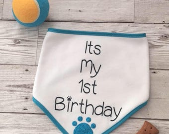 Dog Birthday Bandana, 1st Birthday dog Bandana, Dog Bandana, Personalized Birthday Bandana, Personalized Birthday Bandana