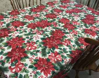 Poinsettia Tablecloth Rectangular 60 X 102/Christmas Holiday Tablecloth