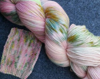 Peonies OOAK - 80/10/10 MCN - 4-ply Sock Yarn - Pink tonal with splashes of Greens/Yellow
