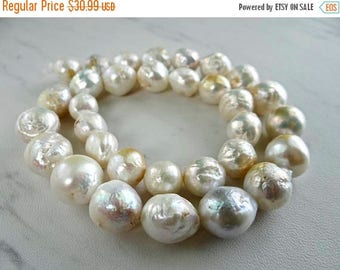 53% Off Sale-- Rainbow white baroque freshwater pearls/10x10-14x13mm/7.5 inch strand
