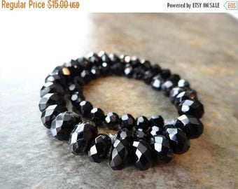 63% End of Summer Sale Black onyx faceted Rondelles/ 5-9mm/10 inches