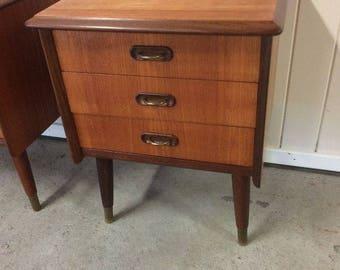 Vintage Scandinavian mid century teak nightstands