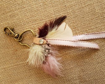 Heart shaped vintage pink keyring