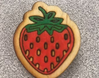 Laser-cut Hand-painted strawberry wooden magnet