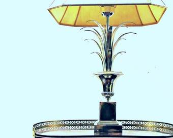 Maison Jansen silver lotus lighting  chrome Hollywood regency metal table-lamp  Hollywood regency  70s french table lamp