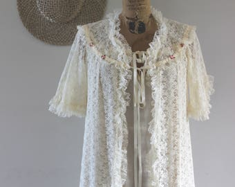 Vintage 50's Cream Lace 2 Piece Robe & Matching Nightgown Peignoir Negligee Lingerie