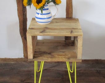 Bedside Table Rustic Bedside Table Hairpin Legs Night Stand Side Table Reclaimed Scaffold Boards Bed Side Tables