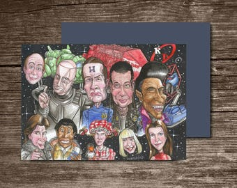 Red Dwarf, Eco Friendly, Cult Caricatures Greeting Card