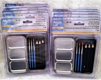 Acrylic Synthetic Hair Brush Tin 7 Pc Set, Artists Loft, Party Favors, Stocking Stuffers, Paint Sets, Set of 10 Packages