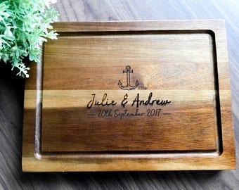 Personalized Acacia Chopping Board, Custom Presentation Serving Board | Chopping Board | Cheese Board -Wedding, Anniversary, Engagement Gift