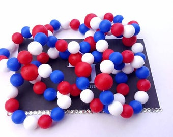 100% Silicone. Red, White & Blue Teething Rings, Teethers, Teething Ring, Teething Beads, Teething Bracelets