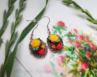 Red Succulent Earrings, Wedding Succulent, Jewelry succulent, earrings cute gift for girls, succulent accessories, gift for girlfriend