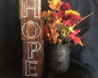 Wooden blocks, reversible, Hope and Love