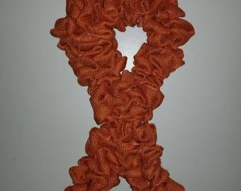 Awareness Ribbon Burlap Wreath