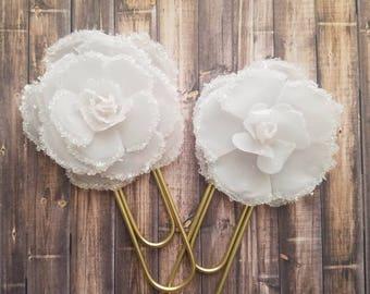 White Wedding Flower - Jumbo Paperclip / Book Mark