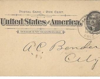 1897 Postal Card - Baker City Oregon - A. O. U. W.