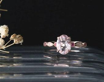 Art Deco Ring 14K Rose Gold Morganite Engagement Ring Natural 8*6mm Oval Cut Morganite Ring Half Eternity Diamonds&Rubies Ring Bridal Ring