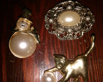 Choice of Vintage Pins/Brooches: Gold & Pearl