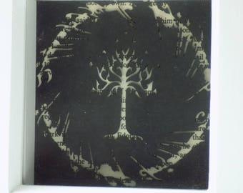 Lord of the Rings paper cut art, framed paper cut, elvish script, box frame art, paper cutting, Tolkien.