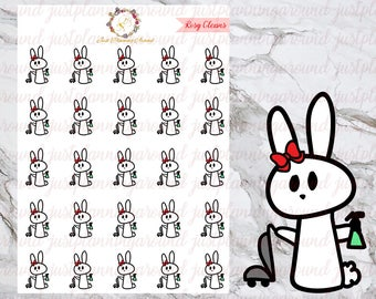 Cleaning, Rosy the Bunny Stickers, Planner Stickers, Hand Drawn Stickers