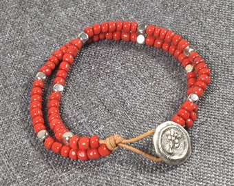 Red Seed Bead double strand bracelet with tree of life button closure