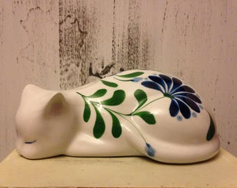 Ceramic Navy and Green Floral cat