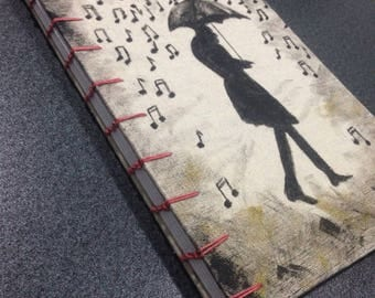 Music Journal: Handmade Coptic-Bound Music Staff Paper Book for Composers and Musicians.