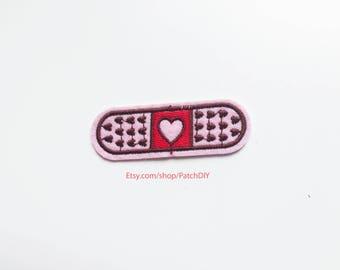 Patch BANDAGE with hearts iron on embroidered applique nurse boo-boo scratch love break ups healing feeling hurt DIY bag t-shirt denim fun