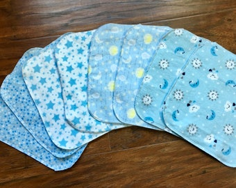 Baby Wipes, Cloth Wipes, 8-Pack Washcloths, Boy Washcloths, Flannel Wipes, Baby Washcloths, Baby Shower Gift, Baby Branch Boutique