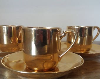 3 noritake gold espresso cup and saucers, 1930s coffee cup and saucers, vintage noritake cup, china tea cups, golden wedding anniversary