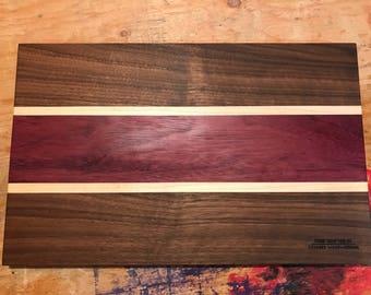 Fabulous Birdseye Maple/Walnut/Purpleheart wood Cutting Board