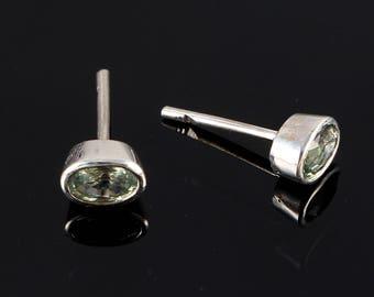 Handmade Earrings, 925 Sterling Silver Jewelry, Sapphire Jewelry, Green Sapphire Earrings, Silver Earrings, September Birthstone, Christmas