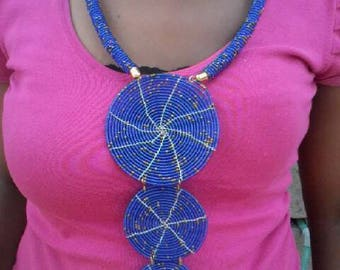 African beaded necklace/three rings statement necklace.zulu necklace/masai handmade necklace/statement necklace