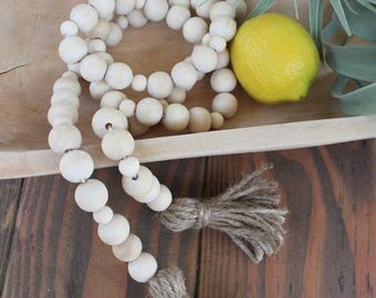 Wood Bead Garland- 4 ft. Single Strand