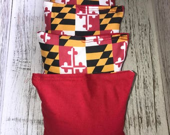 Maryland/Red Corn hole bags