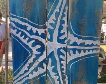 Sea Star Pallet Art, Reclaimed wood art, Ocean art, Marine art, starfish wall art, Coastal Decor